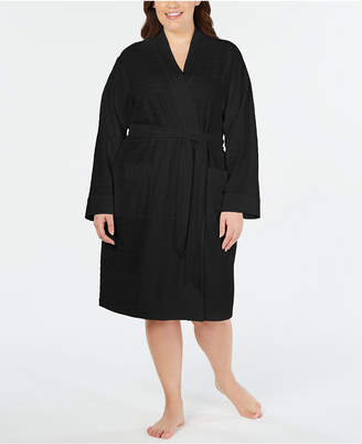 Charter Club Plus Size Striped Texture Knit Robe