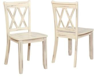 Roundhill Furniture Roundhill Vilnius Contemporary Wood Cross Back Ivory Dining Chair, Set of 2
