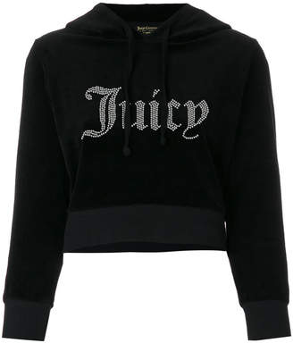 Juicy Couture Swarovski velour shrunken hooded pullover