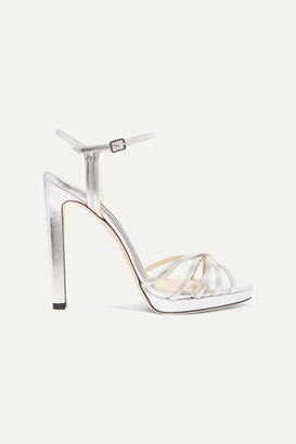 Jimmy Choo Lilah 120 Metallic Leather Platform Sandals - Silver