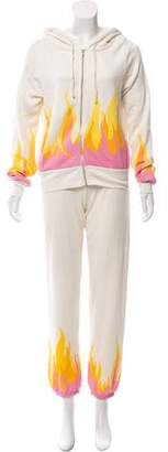 Wildfox Couture Hooded Flame Print Pant Set w/ Tags