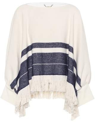 Chloé Fringed cotton and wool sweater