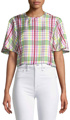 Prabal Gurung Short-Sleeve Plaid Silk Top