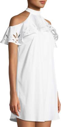 Zac Posen Raia Halter Cold-Shoulder Dress
