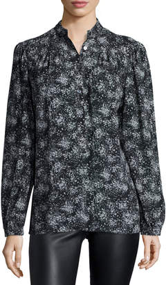 Michael Kors Long-Sleeve Printed Blouse, Taupe