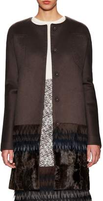 Carolina Herrera Women's Fur Embellished Cashmere Collarless Coat