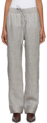 Acne Studios Beige and Blue Stripe Marceline Sketch Lounge Pants