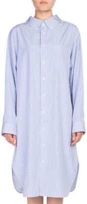 Balenciaga Striped Cotton Swing Shirtdress