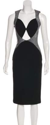 Cushnie et Ochs Leather-Accented Midi Dress