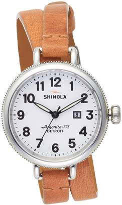 Shinola 'The Birdy' Double Wrap Leather Strap Watch, 34mm
