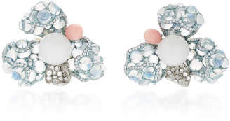 Arunashi One-Of-A-Kind Pearl And Moonstone Flower Stud Earrings
