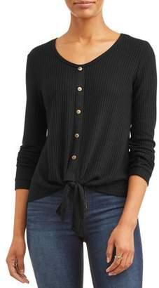 Tru Self Women's Long Sleeve Front Knot Button Thermal T-Shirt