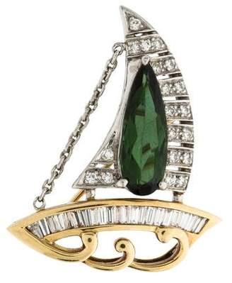 Diamond & Tourmaline Sailboat Brooch Pendant