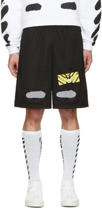 Off-White Black Spray Brushed Diagonals Shorts $255 thestylecure.com