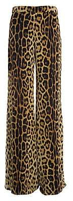 Moschino Women's Leopard Silk Georgette Pants