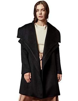 MEHEPBURN Women's Wool Trench Coat Lapel Open Front Jacket Winter Overcoat Outwear M