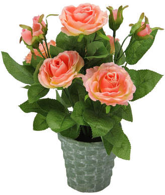 Gracie Oaks Artificial Potted Rose Plant with Greenery