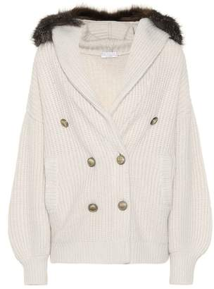 Brunello Cucinelli Fur-trimmed cashmere cardigan