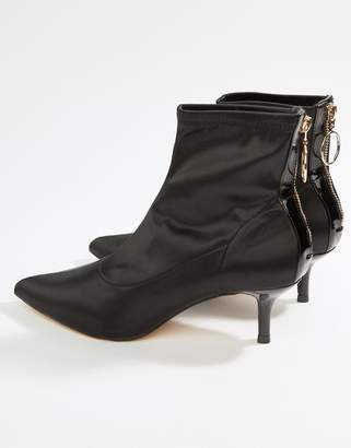 Miss Selfridge zip detail pointed toe kitten boot