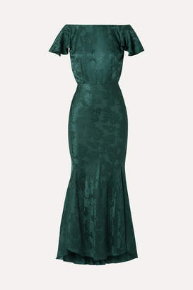 Saloni Daphne Silk-jacquard Maxi Dress - Forest green