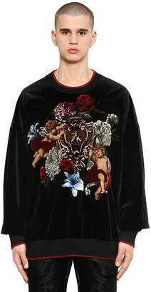 Dolce & Gabbana Oversize Embroidered Velvet Sweatshirt
