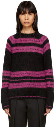 ALEXACHUNG Black and Pink Stripe Pullover