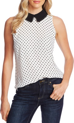 CeCe Heirloom Polka Dot Peter Pan Collar Sleeveless Blouse
