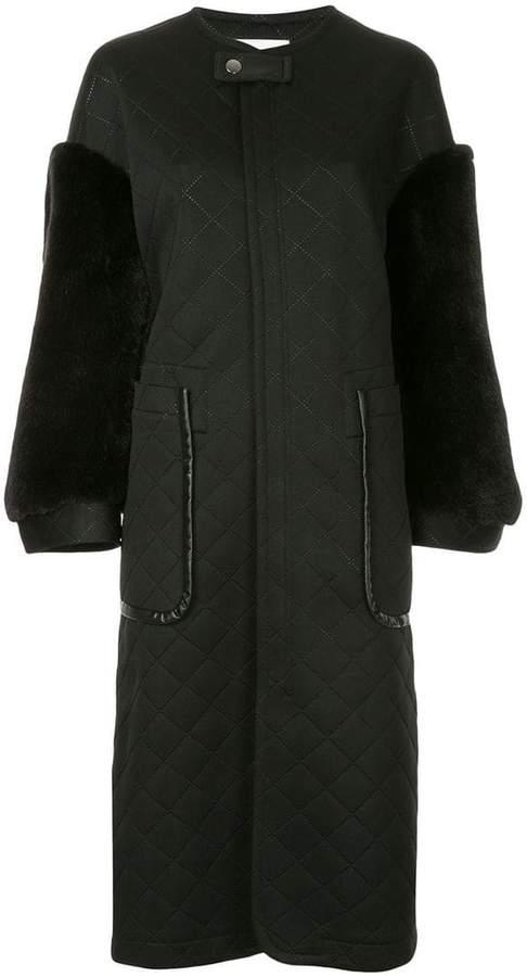 Ujoh faux fur sleeve coat