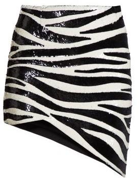 Saint Laurent Zebra Sequinned Asymmetric Mini Skirt - Womens - Black White