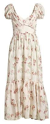 LoveShackFancy Women's Angie Cotton Floral Maxi Dress - Size 0