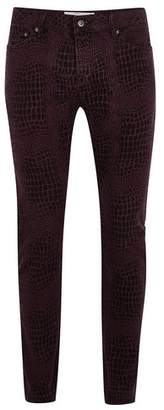 Topman Mens Purple Printed Stretch Skinny Jeans