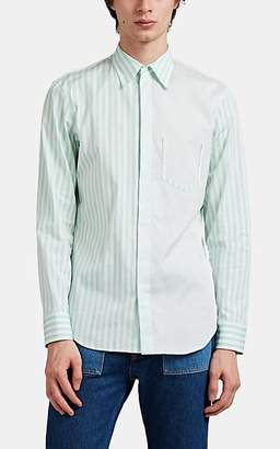 Maison Margiela Men's Striped Raw-Edge Cotton Poplin Shirt - White