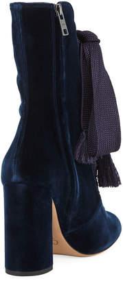 Chloé Harper Velvet Lace-Up Chunky High-Heel Booties