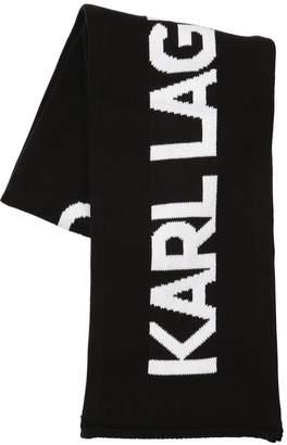 Karl Lagerfeld Logo Intarsia Cotton Knit Scarf