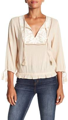 Lucky Brand Embroidered Cotton Tassel Top
