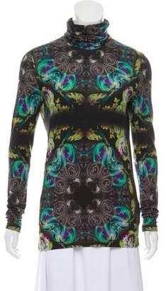 Etro Wool-Blend Floral Print Turtleneck