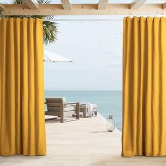 west elm Outdoor Solid Curtain - Citrus