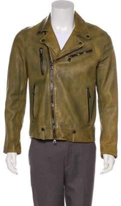 John Varvatos Leather Moto Jacket beige Leather Moto Jacket