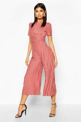 boohoo Kitty Striped Wrap Culotte Jumpsuit