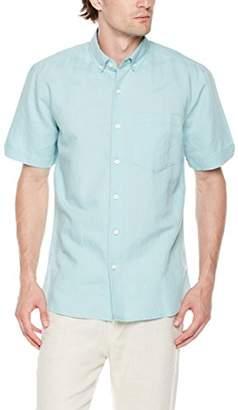 Isle Bay Linens Men's Slim Fit Short Sleeve Linen Cotton Button-Down Shirt