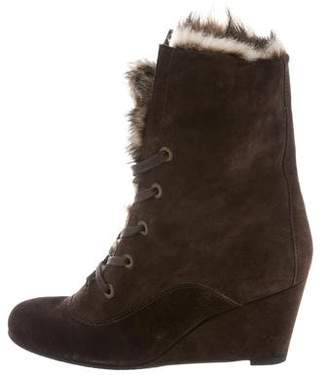 Stuart Weitzman Shearling-Trimmed Wedge Boots