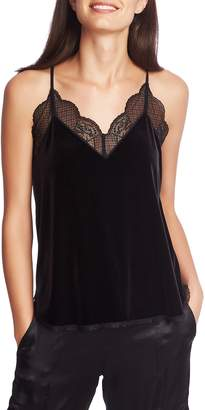 1 STATE 1.STATE Lace Trim Racerback Velvet Camisole