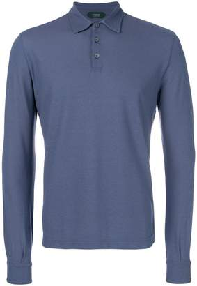 Zanone long-sleeve fitted polo top