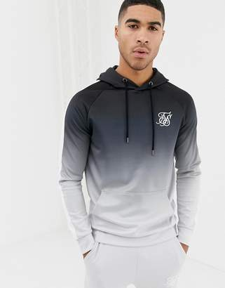 SikSilk hoodie in black and gray fade