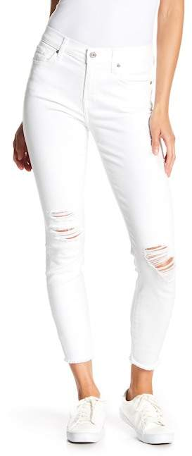 7 For All Mankind Ankle Gwenevere Distressed Fray Jeans