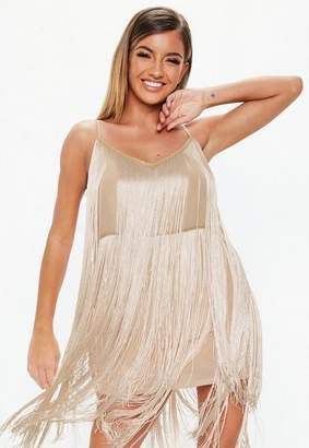 Missguided Nude Strappy Fringe Shift Dress