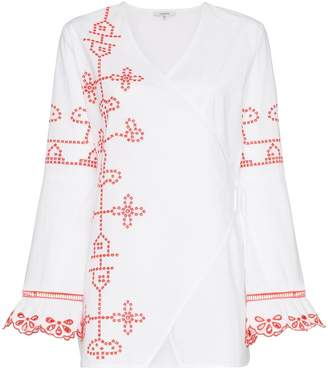 Ganni peony embroidered tunic top