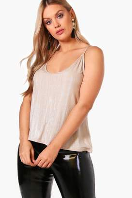 boohoo Plus Lois Metallic Shimmer Basic Cami