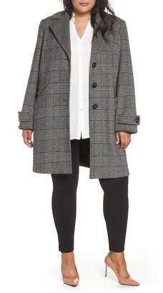 Halogen Plaid Mix Wool Blend Coat