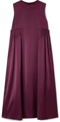 ADAM by Adam Lippes Pleated Silk-satin Midi Dress - Plum